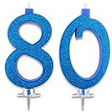 Candeline Maxi 80 Anni per Torta Festa Compleanno 80   DecorazioniCandele Auguri   Idee Festa a Tema   Altezza 13 CM Blu Glitter