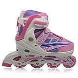 Kinderinliner Inlineskates mit Leuchtende Rollen - Größenverstellbar Größenverstellbar über vier Schuhgrößen - Pink - Gr. M (33-36)