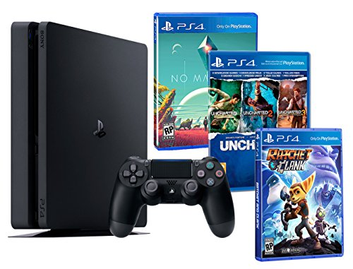 Playstation 4 PS4 Slim 500Go PACK FAMILLE plus 5 jeux! Ratchet & Clank + Uncharted Collection (3 in 1) + No Man's Sky