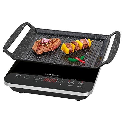 Profi Cook PC-ITG 1130 2-in-1 Induktions-Tischgrill und Einzelkochplatte, Elektronisches Sensor Touch-Bedienfeld mit LED-Display, schwarz -