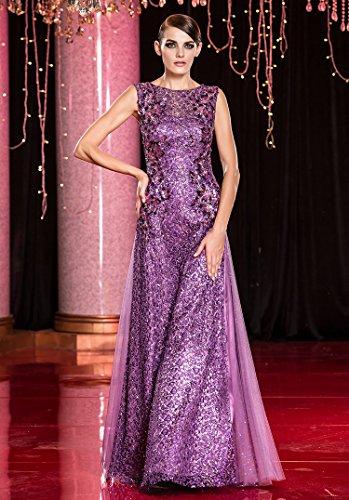 Beauty-Emily -  Vestito  - linea ad a - Collo a U  - Senza maniche  - Donna Violett