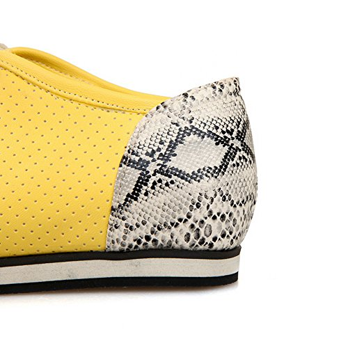 balamasa pour femme à lacets couleurs assorties Motif python Matière souple flats-shoes Jaune