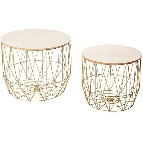 Invicta Interior Design 2er Set Couchtische Storage 50cm Gold Eiche Aufbewahrungskorb Beistelltische mit Holzdeckel Wohnzimmertische Tische -