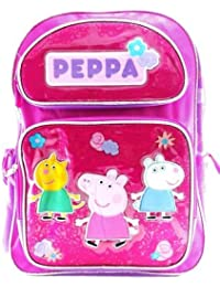 "Entertainment One Peppa Pig Girls 16"" Canvas Pink & Purple School Backpack"