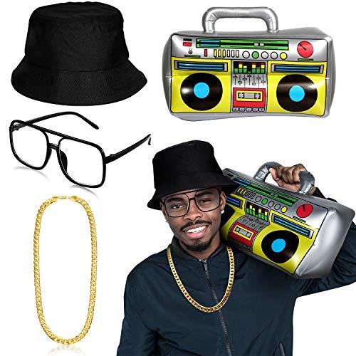 Hip Hop Rapper Kostüm Set, Beinhaltet Aufblasbare Boombox, Schwarzen Eimer Hut, Faux Goldkette, Rapper Sonnenbrillen für 80 90 Jahre Kostüm Zubehör