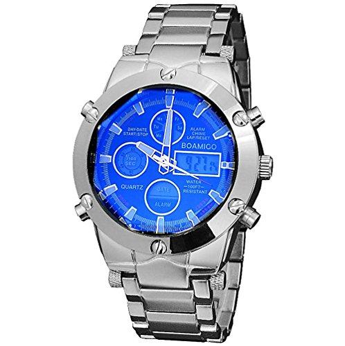 GAOHL Uhren Männer Luxusmarke BOAMIGO Sportuhren Dual Time Quarz Analog Digital Clock LED Stahlband Armbanduhren , black (Time Dual Edelstahl Armbanduhr Digital)