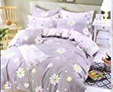 #6: Hargunz 220 TC 100% Glace Cotton 3D Printed Queen size Bedsheet with 2 Pillow Covers: Multicolor::Grey