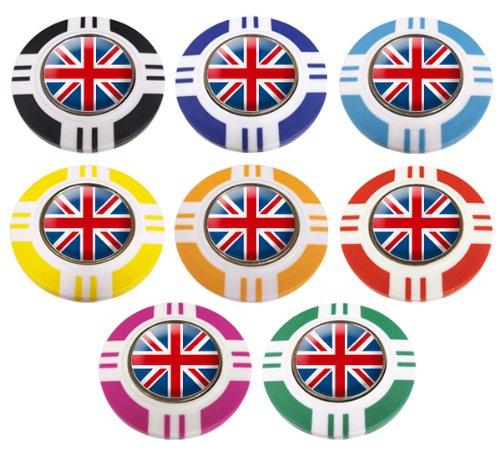 United Kingdom CRESTED Vegas Style Poker Chip Golf Ball Marker. Marineblau außen.