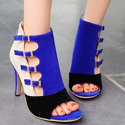 COOLCEPT Femmes Western Mode Peep Toe Talon hauts Cheville Fermeture eclair Sandales Bleu