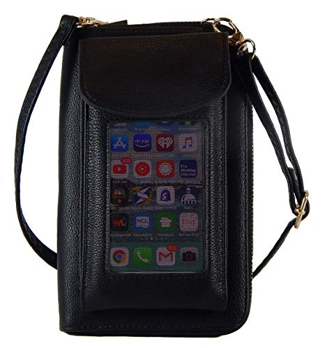 rossbody Handy Geldbörse Geldbörse Organizer Reißverschluss Handy Clutch für Frauen, Schwarz (schwarz), Large ()
