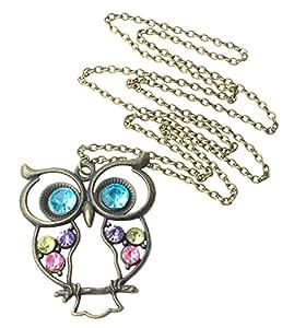 Stone River Jewellery Blue Eyed Bronze Tone Owl Pendant Long Chain Necklace Vintage Style Lilac, Lemon & Pink Stones