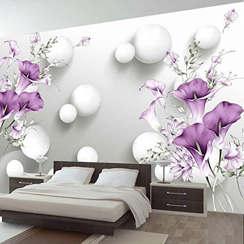 HNSD Moderne Einfache 3D Stereo Relief Lila Calla Lily Blume Wandbild Tapete Wohnzimmer Schlafzimmer Romantische Dekoration Kühle Malerei Wand 350X250cm 6280 Stereo