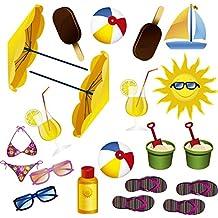 Atrezzo Photocall Playa Veraniego | Atrezzos graciosos | Accesorios Photocall Divertido | Complementos para photocall | Set para Bodas | Complementos Económicos para Bodas