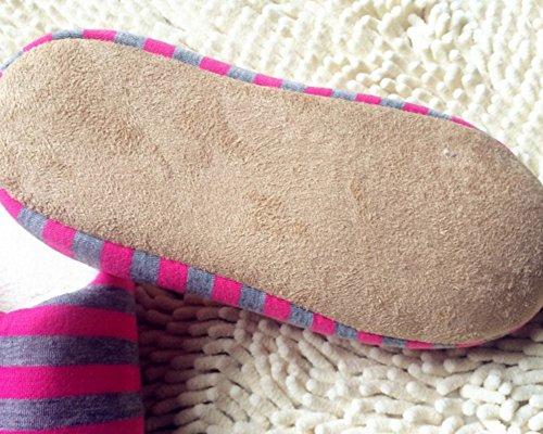 Hommes et femmes Chaussons à rayures Anti-Dérapant Pantoufles dintérieur Chauds à lhiver Chaussures Rouge