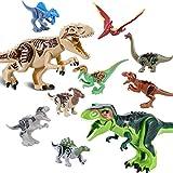 QILICZ 10stk Set Große Tyrannosaurus und klein Dinosaurier Spielzeug, Gelenke sind beweglich,3D Bausteine Kunststoff Dinosaurier Spielzeug für Kinder Geburtstag Geschenk Party