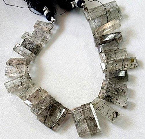 Quarzo rutilato sfaccettato rettangolo a forma di pietra preziosa naturale nero, arancione, 6x 10mm–6x 24mm, filo di 16,5cm circa [e2097]