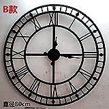 ZHUNSHI Kontinentale Römische Zahlen Uhr Vintage Metall Eisen Rahmen Alte Hohle Wanduhren,Abschnitt-Durchmesser 80Cm