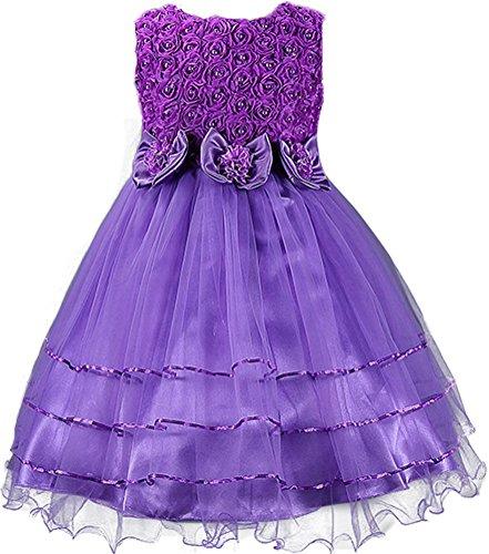 Shiny Kleinkinder 100% Baumwolle 3D Rose Petal Schleife Blume Mädchen Geburtstag Party Tutu Kleid Gr. 5 Jahre, Violett