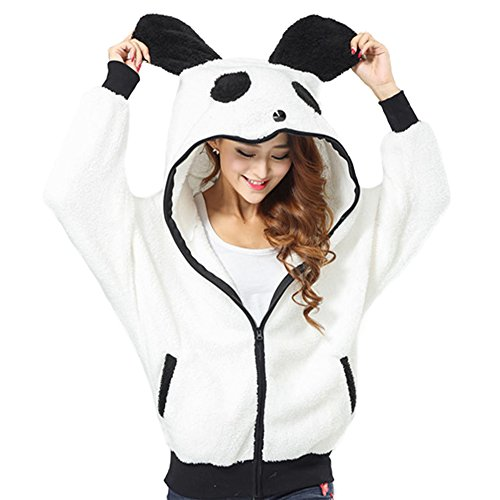 DELEY Damen Mädchen Winter Lässige Warm Niedlich Panda Tier Fleece Zip Hoodies Hooded Kapuzen Sweatshirt Outwear Größe (Hoodie Panda)