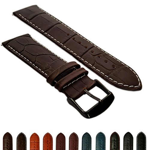 20mm Uhrenarmband braun & weiß echtem Leder Mock Croc Band Herren Krokodil gepolstert schwarz Schnalle -