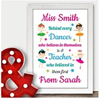 Dance Teacher Thank You Gifts Personalised Ballet Tap Jazz Dance Teacher Thanks - Gifts for Teachers, Teaching Assistants, Nursery Teachers - ANY NAME - A5 A4 Framed Prints or 18mm Wooden Blocks