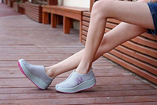 Solshine Damen Netz mit Keilabsatz Laufschuhe Sport Freizeitschuhe Atmungsaktiv Grau 4