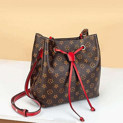 LFGCL Taschen womenSimple Bucket Bag Handtasche Umhängetasche Diagonale Tasche, alte Blume rot