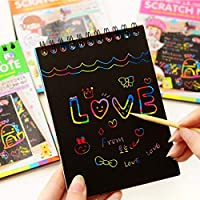 GEESENSS One Scratch Paper Note, 10 Sheet Multicolor Drawing Writing Book With Wooden Stylus