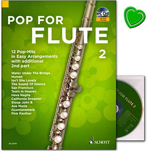 Pop For Flute 2 : 12 Pop-Hits in Easy Arrangements with additional 2nd part - Notenbuch mit CD und bunter herzförmiger Notenklammer (Pink Panther Band 2)