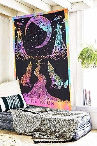 Zukunft handgefertigt Weinen Wolf The Moon Multi Farbe Tie Dye Wand Tapisserie Tapisserie Wandbehang indischen Psychedelic Hippie Mandala Beach Überwurf Boho Wandteppiche Bohemian Tagesdecke Größe 205,7x 139,7cm