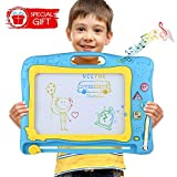 U-HOME zaubertafeln für Kinder, Kinder zaubertafel Große Doodle Board Pad Bunt Zeichenbrett mit 3 Magnetische Stempel für Kinder 3 4 5 Jahre Alt (Blau)