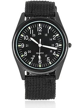 Souarts Herren Schwarz Leuchtende Nacht Armbanduhr Quartzuhr Analog Armreif Uhr mit Batterie