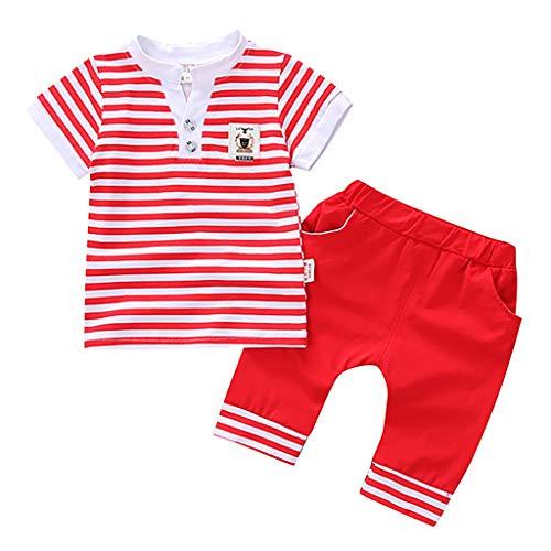 Tyoby Baby Jungen Streifen/Drucken Kurzärmliges Oberteil T-Shirt+ Mode Shorts Zweiteiliges Set(rot,XL)