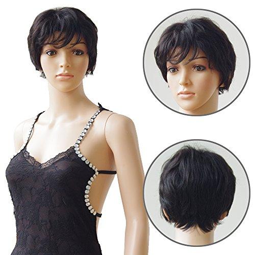 Parrucca corta bresilienne donna vero capelli umano naturale remy # 1b nero naturale