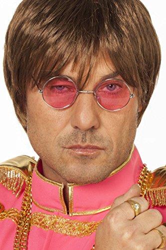 Hippie-Brille John Lennon kleine runde Gläser Rosa Flower Power Woodstock