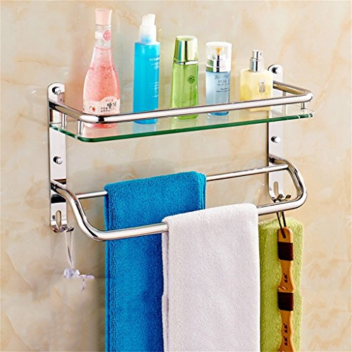 Badezimmer Regal Edelstahl-Badezimmer Regal Glas Badezimmerwandbefestigungen Sicherheit abgerundete Ecken (Color : 41 * 26CM) - Sicherheits-glas-regale