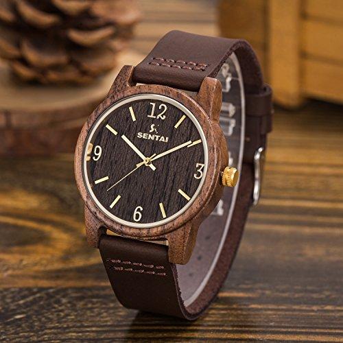 Natürliche hölzerne Uhr Sentai Holzuhr für Mann und Frau Lederarmband stilvolle und schöne handgemachte leichte Quarzuhren Unisex Armbanduhr Braun - 3