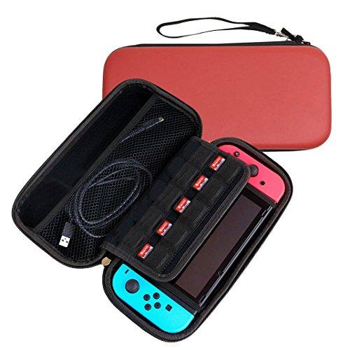 Nintendo Switch Hard Case, Nintendo Switch Tasche Rot, Moon mood Nintendo Switch Tasche mit Netztasche und Reißverschluss, Hard EVA Tragen Hülle Case Stoßfeste Tragetasche Reisetasche für Nintendo Switch Zubehör mit 10 Game Slots