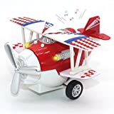 Joy-Fun Cadeau d'anniversaire Avion pour Enfants Modèles Mini Alloy Airplane Biplan Jouet Décorations pour la Maison Jouets Vintage Cadeau Filles JF-UK-Avion Rouge