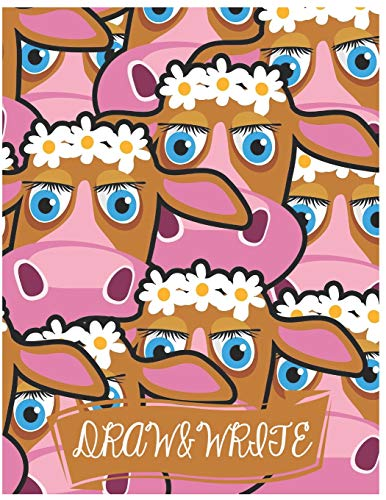 Draw&Write: Sweet Cow Journal/Notebook for Children Animals Lovers to Writing and Drawing (8.5x11 Inch. 21.59x27.94 cm.) Story Paper 120 Pages (BROWN&WHITE&PINK&BLUE Pattern)