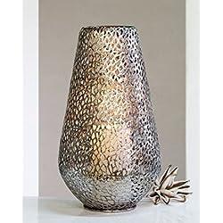 """Casablanca Design Boden-Windlicht """"Purley"""" aus antik-silbernem Metall, Höhe ca. 46 cm, Durchmesser ca. 25 cm"""