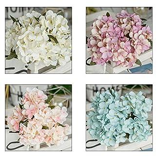FUGL Hortensia Flor de Imitación 5 Tallos Flor Artificial Hortensia de Imitación Única Flor Artificial Casa de Café Decoración de La Boda Decoración para El Hogar 32Cm Hecho A Mano