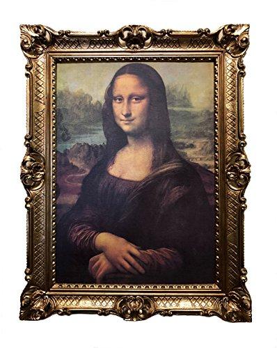 Mona Lisa Bild mit Barock Rahmen Wandbild von Leonardo da Vinci 70x90cm Kunstdrucke Gemälde Retro...