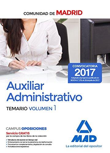 Descargar AUXILIAR ADMINISTRATIVO DE LA COMUNIDAD DE MADRID  TEMARIO (VOL  1)