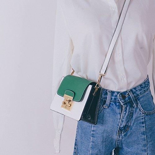 BUKUANG Einfache Kette Von Kleinen Quadratischen Paket Schlug Die Farbe Weiblichen Beutel Freizeit Wilden Schultertasche Messenger Bag,A B