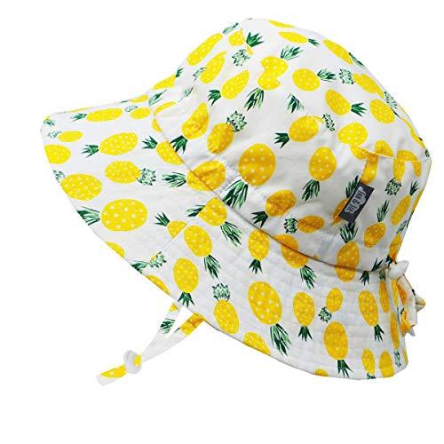 Jan & Jul Kleinkind Jungen Mädchen Baumwolle Fischerhut Sonnenhut 50 LSF, Kordelzug Größenverstellbar, (M: 6-24 Monate, Gelbe Ananas)
