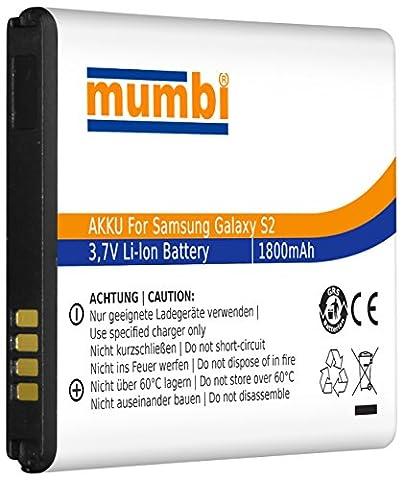 mumbi Ersatz Akku für Samsung Galaxy S2 i9100 / Galaxy S2 Plus i9105P Ersatzakku 1800mAh (ohne