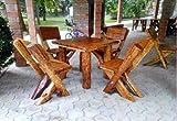 Casa Padrino Gartenmöbel Set Rustikal Tisch + 4 Garten Stühle - Eiche Massivholz - Echtholz Möbel Massiv
