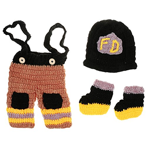 Sharplace 3stk Baby Neugeborenen Häkelarbeit Feuerwehrmänner Kleidung Foto Prop Fotografie Outfits
