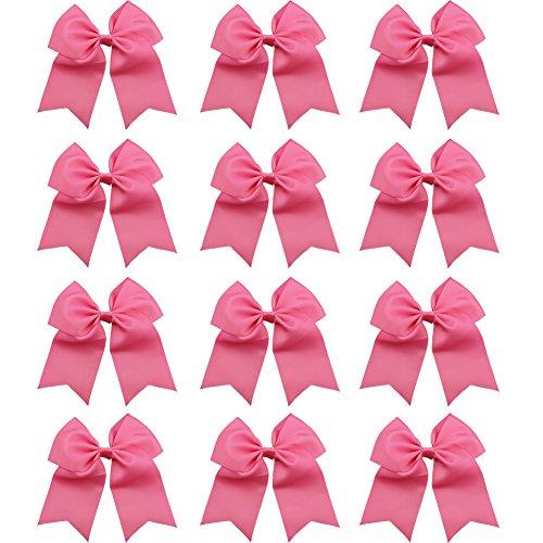 qtgirl-7-big-cheer-bows-12-pcs-cheerleader-hair-bow-with-clip-hot-pink